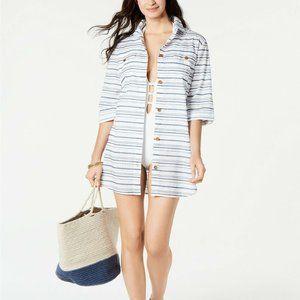 Dotti Baja Striped Swimsuit Cover-Up Shirt Medium